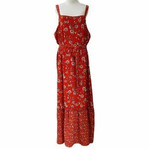 Studio B by Bobeau Boho Red Floral Maxi Dress Plus